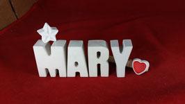 Beton, Steinguss Buchstaben 3D Deko Namen MARY als Geschenk verpackt mit Stern und Herzklammer!