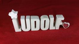 Beton, Steinguss Buchstaben 3D Deko Namen LUDOLF als Geschenk verpackt!