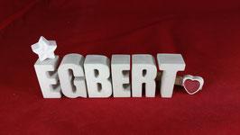 Beton, Steinguss Buchstaben 3D Deko Namen EGBERT als Geschenk verpackt!