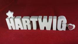 Beton, Steinguss Buchstaben 3D Deko Namen HARTWIG als Geschenk verpackt!