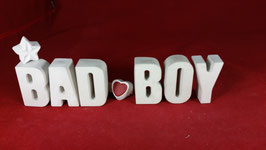 Beton, Steinguss Buchstaben 3D Deko Stern Namen BAD BOY als Geschenk verpackt!