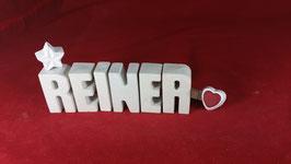 Beton, Steinguss Buchstaben 3D Deko Namen REINER als Geschenk verpackt!