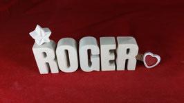 Beton, Steinguss Buchstaben 3D Deko Namen ROGER als Geschenk verpackt!