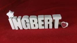 Beton, Steinguss Buchstaben 3D Deko Namen INGBERT als Geschenk verpackt!
