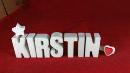 Beton, Steinguss Buchstaben 3D Deko Namen KIRSTIN als Geschenk verpackt mit Stern und Herzklammer!