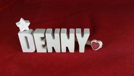 Beton, Steinguss Buchstaben 3D Deko Namen DENNY als Geschenk verpackt!