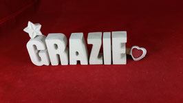 Beton, Steinguss Buchstaben 3D Deko Stern Namen GRAZIE als Geschenk verpackt!