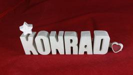 Beton, Steinguss Buchstaben 3D Deko Namen KONRAD als Geschenk verpackt!