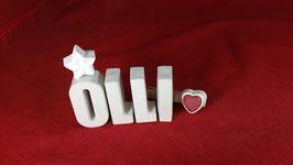 Beton, Steinguss Buchstaben 3D Deko Namen OLLI als Geschenk verpackt!