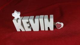 Beton, Steinguss Buchstaben 3D Deko Namen KEVIN als Geschenk verpackt!
