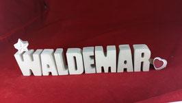 Beton, Steinguss Buchstaben 3D Deko Namen WALDEMAR als Geschenk verpackt!
