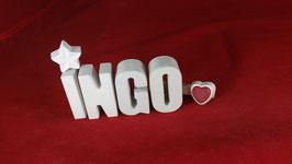 Beton, Steinguss Buchstaben 3D Deko Namen INGO als Geschenk verpackt!