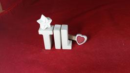 Beton, Steinguss Buchstaben 3D Deko Namen TIL als Geschenk verpackt!