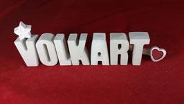 Beton, Steinguss Buchstaben 3D Deko Namen VOLKART als Geschenk verpackt!