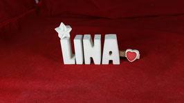 Beton, Steinguss Buchstaben 3D Deko Namen LINA als Geschenk verpackt mit Stern und Herzklammer!