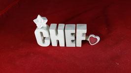 Beton, Steinguss Buchstaben 3D Deko Stern Namen CHEF als Geschenk verpackt!