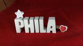 Beton, Steinguss Buchstaben 3D Deko Namen PHILA als Geschenk verpackt mit Stern und Herzklammer!
