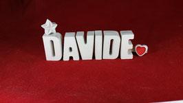Beton, Steinguss Buchstaben 3D Deko Namen DAVIDE als Geschenk verpackt!