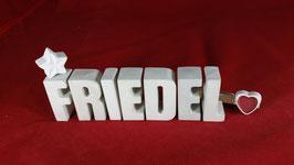Beton, Steinguss Buchstaben 3D Deko Namen FRIEDEL als Geschenk verpackt!