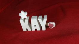 Beton, Steinguss Buchstaben 3D Deko Namen KAY als Geschenk verpackt!