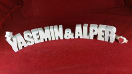 Beton, Steinguss Buchstaben 3D Deko Stern Namen YASEMION & ALPER als Geschenk verpackt!