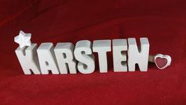 Beton, Steinguss Buchstaben 3D Deko Namen KARSTEN als Geschenk verpackt!