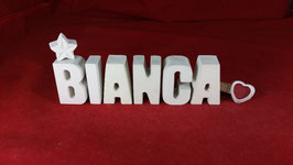 Beton, Steinguss Buchstaben 3D Deko Stern Namen BIANCA als Geschenk verpackt!