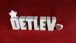 Beton, Steinguss Buchstaben 3D Deko Namen DETLEV als Geschenk verpackt!