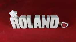 Beton, Steinguss Buchstaben 3D Deko Namen ROLAND als Geschenk verpackt!