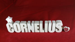 Beton, Steinguss Buchstaben 3D Deko Namen CORNELIUS als Geschenk verpackt!