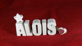 Beton, Steinguss Buchstaben 3D Deko Namen ALOIS als Geschenk verpackt!