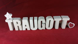 Beton, Steinguss Buchstaben 3D Deko Namen TRAUGOTT als Geschenk verpackt!