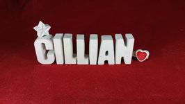 Beton, Steinguss Buchstaben 3D Deko Namen CILLIAN als Geschenk verpackt!