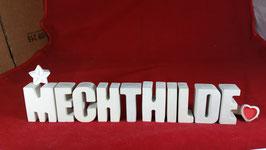Beton, Steinguss Buchstaben 3D Deko Namen MECHTHILDE als Geschenk verpackt mit Stern und Herzklammer!