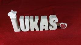 Beton, Steinguss Buchstaben 3D Deko Namen LUKAS als Geschenk verpackt!
