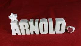 Beton, Steinguss Buchstaben 3D Deko Namen ARNOLD als Geschenk verpackt!