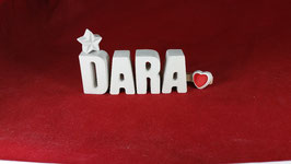 Beton, Steinguss Buchstaben 3D Deko Namen DARA als Geschenk verpackt!