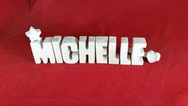 Beton, Steinguss Buchstaben 3D Deko Namen MICHELLE als Geschenk verpackt mit Stern und Herzklammer!