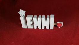 Beton, Steinguss Buchstaben 3D Deko Namen LENNI als Geschenk verpackt!