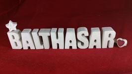 Beton, Steinguss Buchstaben 3D Deko Namen BALTHASAR als Geschenk verpackt!