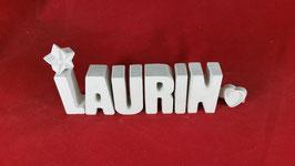 Beton, Steinguss Buchstaben 3D Deko Namen LAURIN als Geschenk verpackt!