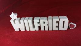 Beton, Steinguss Buchstaben 3D Deko Namen WILFRIED als Geschenk verpackt!