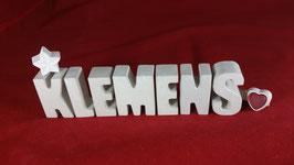 Beton, Steinguss Buchstaben 3D Deko Namen KLEMENS als Geschenk verpackt!