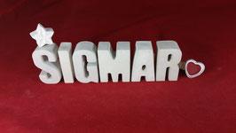 Beton, Steinguss Buchstaben 3D Deko Namen SIGMAR als Geschenk verpackt!