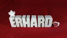 Beton, Steinguss Buchstaben 3D Deko Namen ERHARD als Geschenk verpackt!