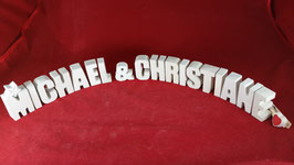 Beton, Steinguss Buchstaben 3D Deko Stern Namen MICHAEL & CHRISTIANE als Geschenk verpackt!