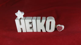 Beton, Steinguss Buchstaben 3D Deko Namen HEIKO als Geschenk verpackt!