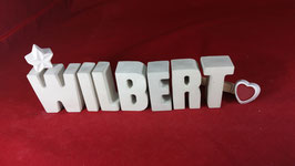 Beton, Steinguss Buchstaben 3D Deko Namen WILBERT als Geschenk verpackt!