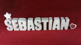Beton, Steinguss Buchstaben 3D Deko Namen SEBASTIAN als Geschenk verpackt!