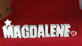 Beton, Steinguss Buchstaben 3D Deko Namen MAGDALENE als Geschenk verpackt mit Stern und Herzklammer!